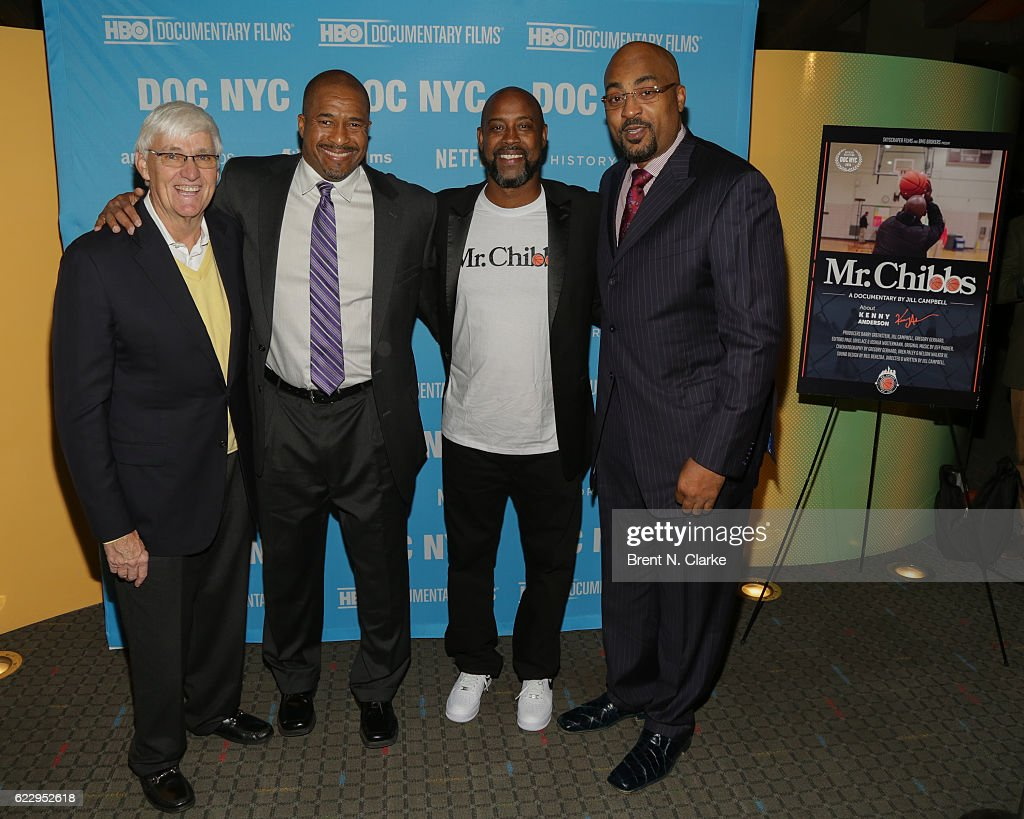 Former basketball coach Bobby Cremins, retired basketball players Brian Oliver, Kenny Anderson and Dennis Scott attend the screening of 'Mr. Chibbs' during DOC NYC held at the SVA Theater on November 12, 2016 in New York City.