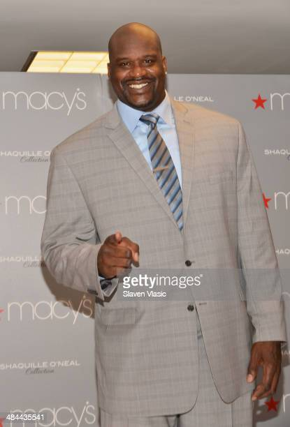 Former basketball great and TV personality Shaquille O'Neal celebrates the launch of the Shaquille O'Neal collection at Macy's Herald Square on April...