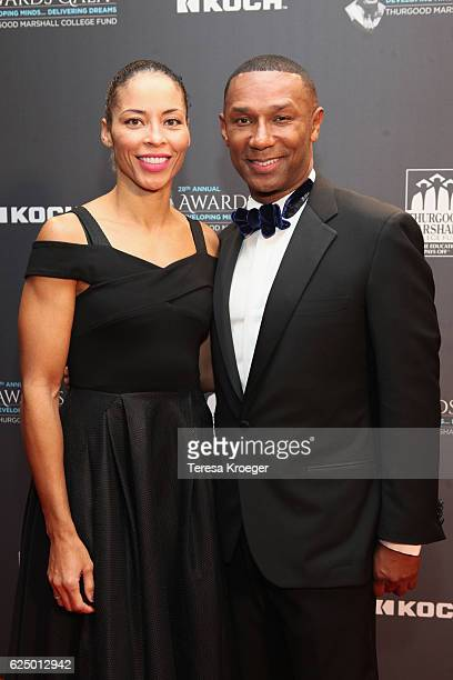 Former basketball player Allison Feaster and President and CEO of the Thurgood Marshall College Fund Johnny C Taylor Jr attend the Thurgood Marshall...