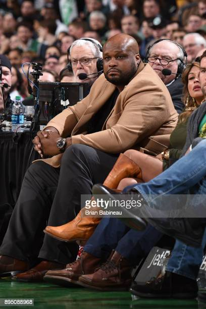 Former basketball player Antoine Walker is seen at the game between the Denver Nuggets and Boston Celtics on December 13 2017 at the TD Garden in...