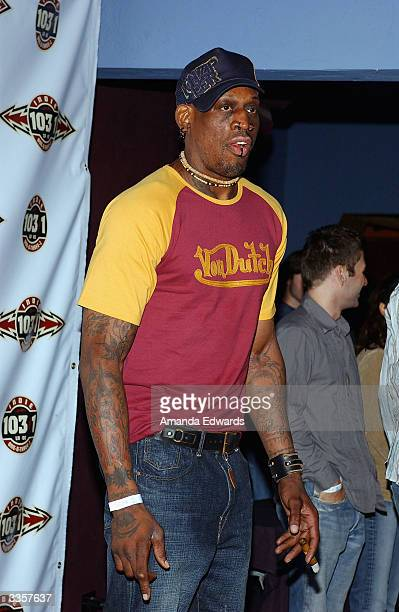 Former Basketball player Dennis Rodman arrives at the 1031 Celebrates 103 Days in Los Angeles party on April 13 2004 at Avalon in Hollywood...