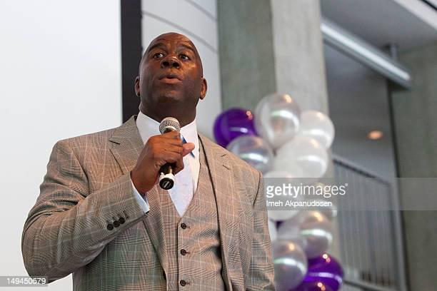 Former basketball player Earvin 'Magic' Johnson speaks onstage at the Magic Johnson Foundation's Taylor Michaels Scholarship Program Brunch at...