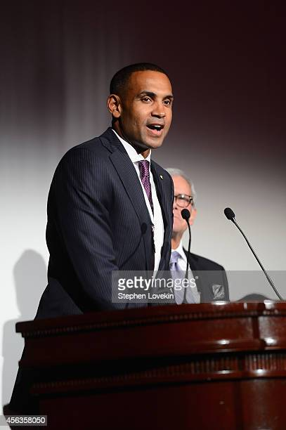 Former basketball player Grant Hill speaks onstage at the 29th Annual Great Sports Legends Dinner to benefit The Buoniconti Fund to Cure Paralysis at...