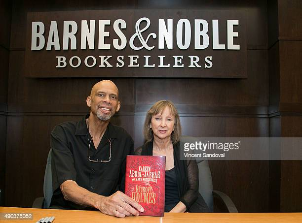 Former Basketball player Kareem AbdulJabbar and Author Anna Waterhouse sign and discuss their new book Mycroft Holmes at Barnes Noble at The Grove on...