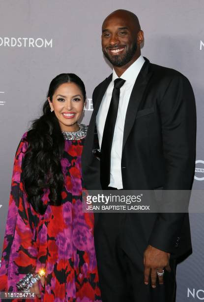 US former basketball player Kobe Bryant and his wife Vanessa Laine Bryant arrive for the 2019 Baby2Baby Fundraising Gala at 3Labs in Culver City...