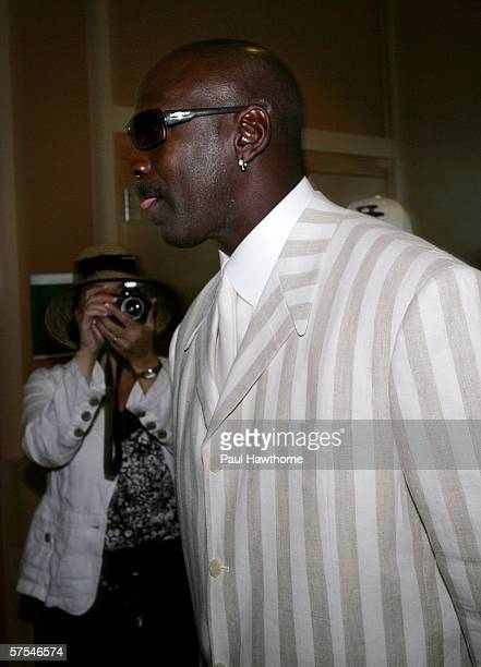 Former basketball player Michael Jordan arrives at the 132nd Kentucky Derby at Churchill Downs on May 6 2006 in Louisville Kentucky
