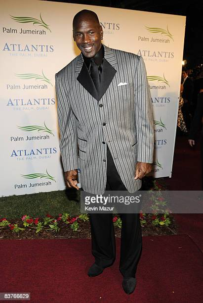 Former Basketball player Michael Jordan attends the landmark Grand Opening of Atlantis The Palm Resort and the Palm Jumeirah on November 20 2008 in...