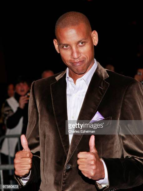 Former basketball player Reggie Miller attends the premiere of Winning Time Reggie Miller vs The New York Knicks at the Ziegfeld Theatre on March 2...