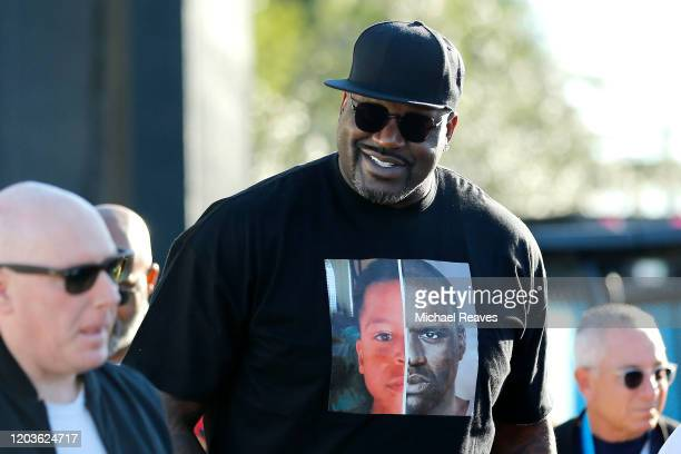 Former basketball player Shaquille O'Neal arrives at Super Bowl LIV at Hard Rock Stadium on February 02 2020 in Miami Florida