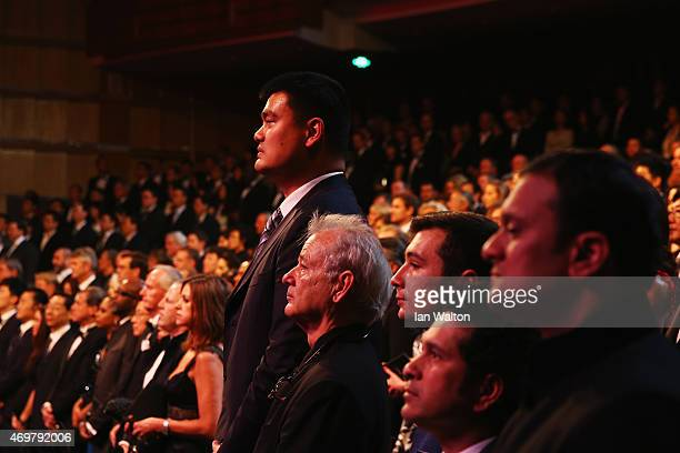 Former Basketball player Yao Ming of China and actor Bill Murray stand at the start of the 2015 Laureus World Sports Awards show at the Shanghai...