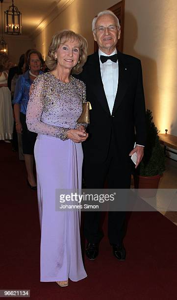 Former Bavarian State governor Edmund Stoiber and his wife Karin arrive for the Hubert Burda Birthday Reception at Munich royal palace on February 12...