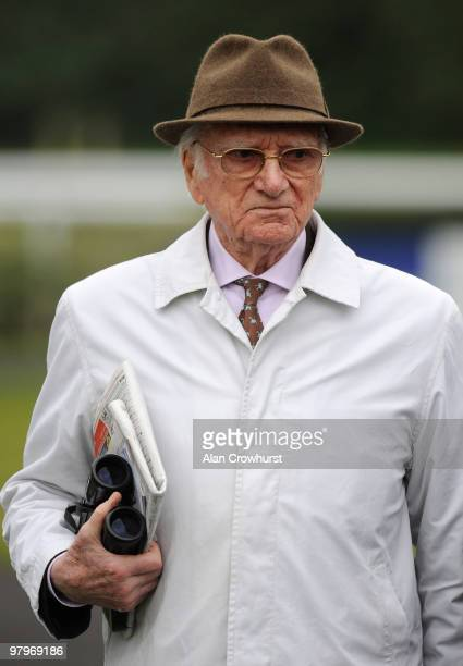 Former BBC racing commentator Sir Peter O'Sullevan looks on at Kempton Park racecourse on March 23 2010 in Sunbury England