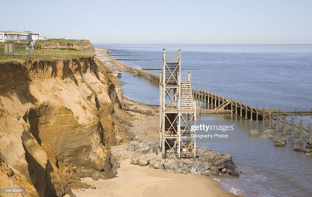 Exceptional Former Beach Access Stairs Now Stand Alone As Coastal Erosion Continues,  Happisburgh, Norfolk,