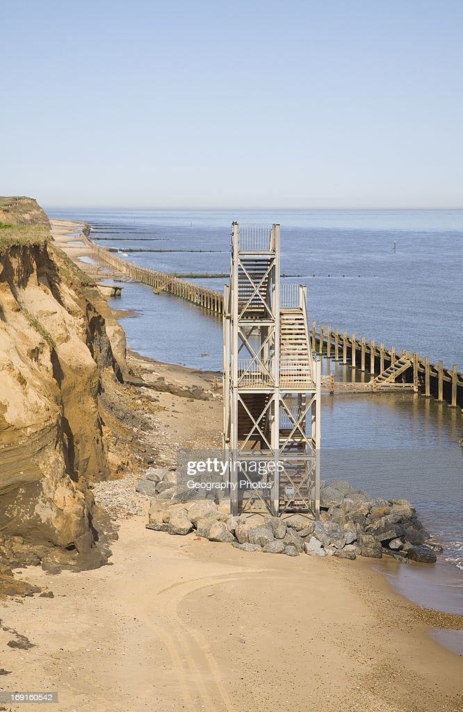Former Beach Access Stairs Now Stand Alone As Coastal Erosion Continues,  Happisburgh, Norfolk,