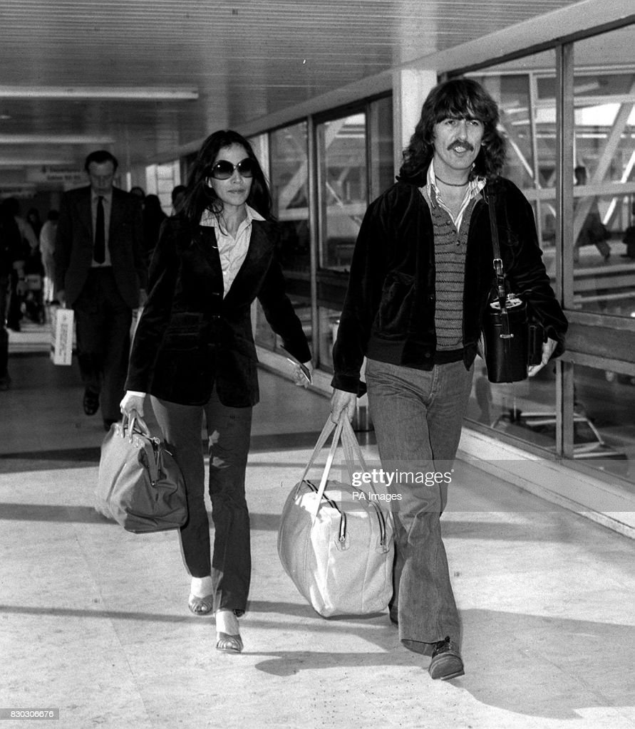 Former Beatle George Harrison And His Girlfriend Olivia Arias At Heathrow Airport London Having