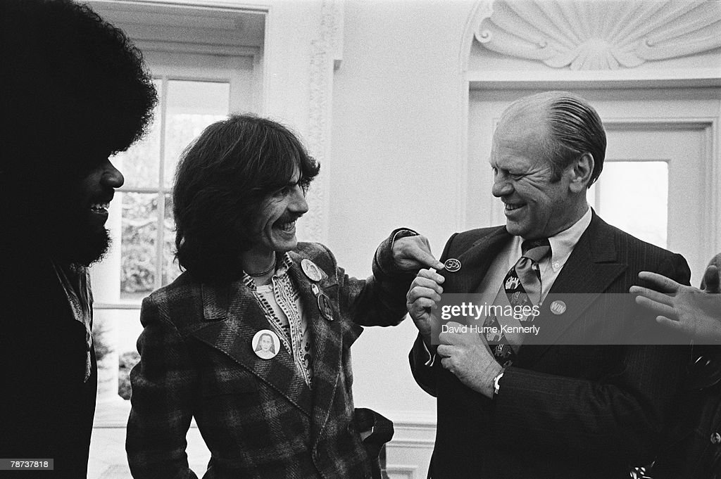 Former Beatle George Harrison And Keyboardist Billy Preston Meet President Gerald Ford In The Oval Office