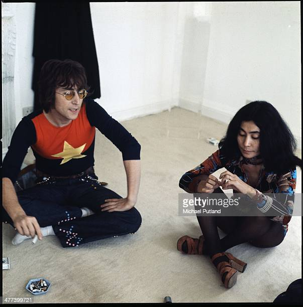 Former Beatle John Lennon with his wife Yoko Ono are interviewed at their home Tittenhurst Park near Ascot Berkshire July 1971