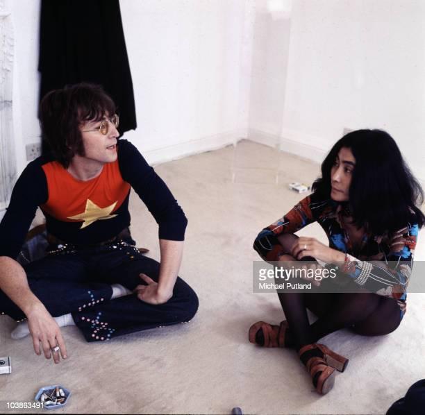 Former Beatle John Lennon with his wife Yoko Ono at their home Tittenhurst Park near Ascot Berkshire July 1971