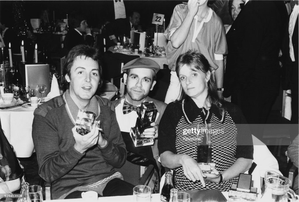 Former Beatle Paul McCartney And His Wife Linda With Elton John Centre At The