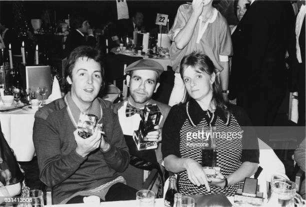 Former Beatle Paul McCartney and his wife Linda with Elton John at the Capital Radio Music Awards at Grosvenor House London 22nd March 1978 Elton...