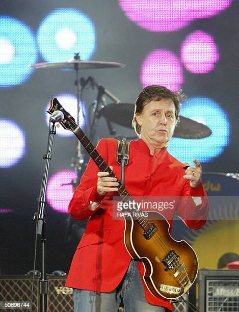 Former Beatle Paul McCartney performs at the Molinon stadium in the northern Spanish city of Santander, late 25 May 2004 during the opening concert...