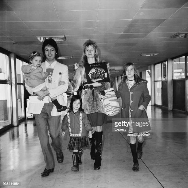 Former Beatle Paul McCartney pictured with his wife Linda McCartney and children, from left, Stella McCartney, Mary McCartney and Heather McCartney...
