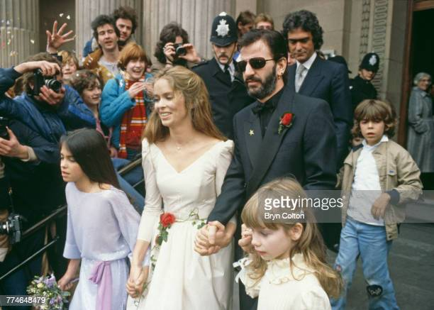 Former Beatle Ringo Starr and American actress Barbara Bach leaving Marylebone Register Office after their wedding, London, April 27, 1981. Their...