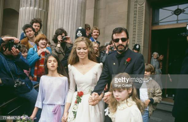 Former Beatle Ringo Starr and American actress Barbara Bach leaving Marylebone Register Office after their wedding London April 27 1981 Their...