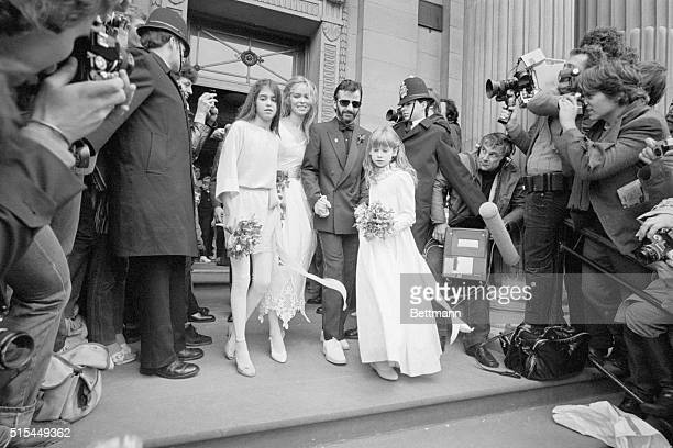 Former Beatle Ringo Starr and his new bride, actress Barbara Bach with their bridesmaids, Francesca Gregorini and Lee Starkey, leave a London...