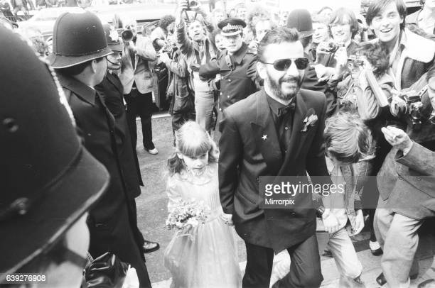Former Beatles drummer Ringo Starr with his daughter Lee Starkey as a bridesmaid, during his wedding to Barbara Bach at Old Maylebone Town Hall,...