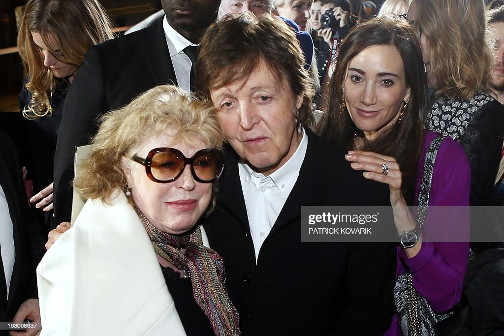 Former Beatles Paul McCartney And His Wife Nancy Shevell R Pose On March 4