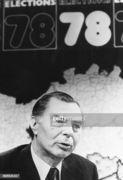 Former Belgian Prime Minister Leo Tindemans speaking at RTBF television studios following the General Election stalemate, December 19th 1978.