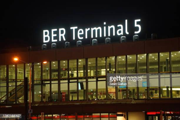 Former Berlin Schoenefeld Airport stands officially as Terminal 5 of the new Berlin Brandenburg Airport moments after its inauguration on October 25,...
