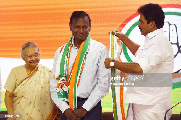 Former Bharatiya Janata Party leader and MP Udit Raj joins Congress in the presence of Delhi Pradesh Congress Committee President Sheila Dikshit and...