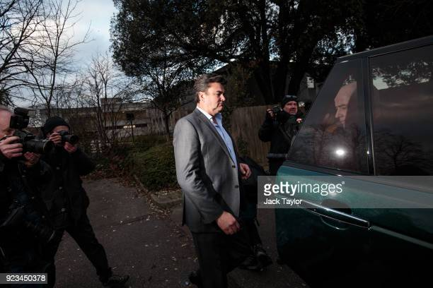 Former BHS owner Dominic Chappell leaves Barkingside Magistrates Court after being given a £87170 fine on February 23 2018 in Barking England Mr...