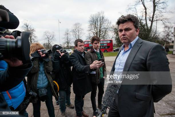 Former BHS owner Dominic Chappell speaks to the assembled media outside Barkingside Magistrates Court after being given a £87170 fine on February 23...