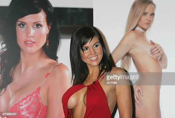 Former Big Brother contestant Michelle Bass poses at a photocall to announce her new signing as the new face of TelevisionX a British adult TV...