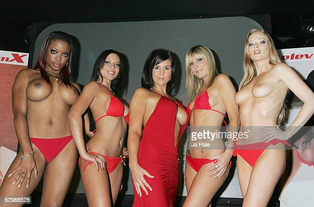 Former Big Brother contestant Michelle Bass poses With Lexi, Dani Thompson, Holly Newbury and Tamara Noon at a photocall to announce her new signing...