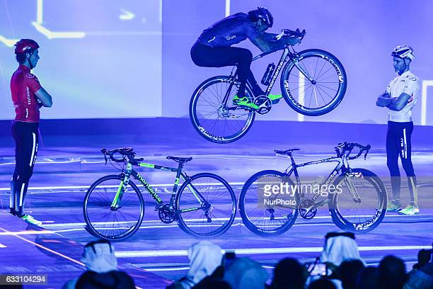 A former Bike Trial World Champion Vittorio Brumotti and his team perform at the Official Opening Ceremony of the 2017 Dubai Tour at the outdoor...