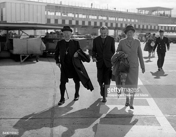 Former Bishop of Canterbury his Grace Dr Fisher and his wife arrive at Dublin Airport where they were met by Protestant Archbishop of Dublin Rev Dr...
