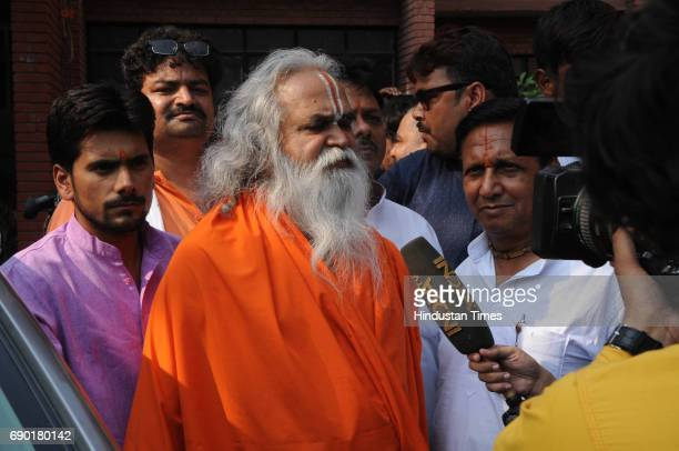 Former BJP MP Ram Vilas Vedanti after getting bail in Ayodhya Ram MandirBabri Masjid Demolition case at CBI court on May 30 2017 in Lucknow India...