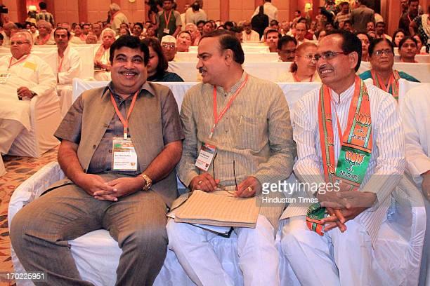 Former BJP President Nitin Gadkari and Madhya Pradesh Chief Minister Shivraj Singh Chouhan during the BJP National Executive Meeting 2013 on June 8...