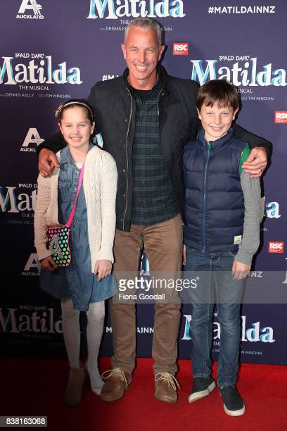 Former Black Cap and current TV presenter Mark Richardson and children Annabel and Charlie attend the opening night of Matilda the Musical at Civic...