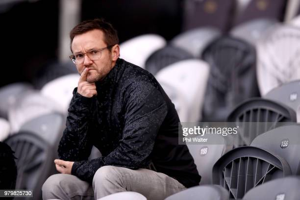 Former Black Caps coach Mike Hesson looks on during a New Zealand All Blacks training session at Forsyth Barr Stadium on June 21 2018 in Dunedin New...