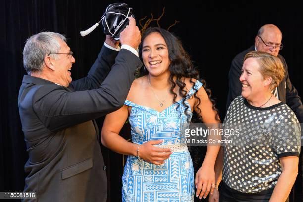 Former Black Fern Angelene Sisifa is capped by NZR President Bill Osborne and former Black Fern Anna Richards during the New Zealand Black Ferns...