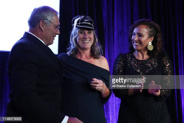 Former Black Fern Lauren O'Reilly is capped by New Zealand Rugby President Bill Osborne and Dr Farrah Palmer during the New Zealand Black Ferns...