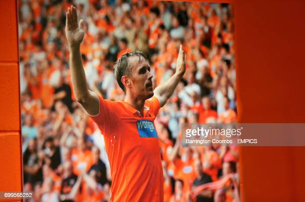Former Blackpool player Brett Ormerod displayed on a board showcasing the club's history