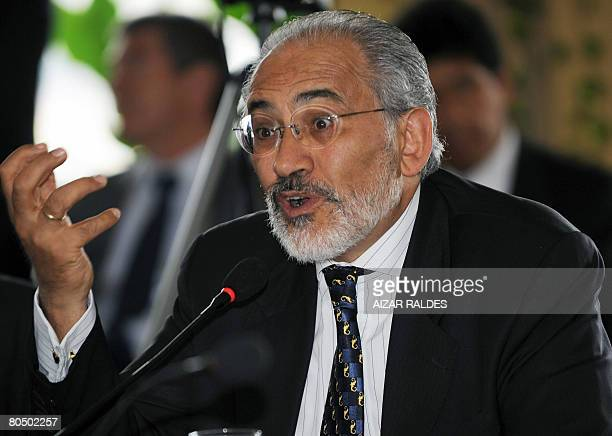 Former Bolivian president Carlos Mesa takes part in the II Academic Summit of Former Presidents and Vice Presidents held on April 2 2008 in La Paz...