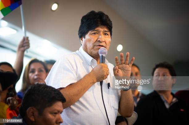 Former Bolivian President Evo Morales announces as candidates for president, Luis Arce Catacora and for vice president, David Choquehuanca at a news...