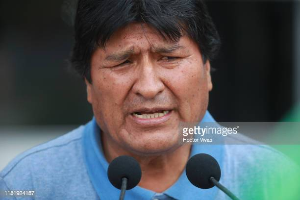 Former Bolivian president Evo Morales delivers a press conference on his arrival to Benito Juarez International Airport after accepting the political...
